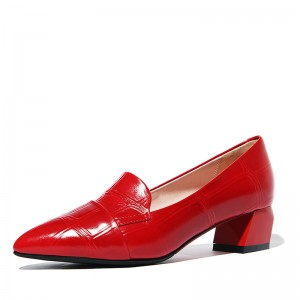 Women's Red Chunky Heels Pointy Toe Block Heel Pumps Comfortable Shoes