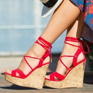 Red Suede Cork Wedges Open Toe Crisscross Strappy Platform Sandals