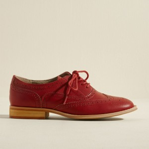 Red Women's Oxfords Lace up Brogues Chunky Heels Vintage Shoes