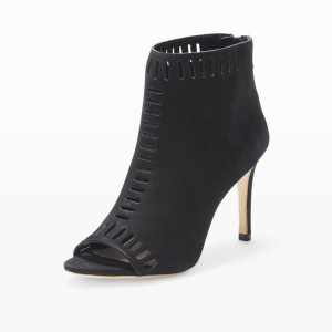 Retro Black Hollow-Out Summer Boots Peep Toe Stiletto Ankle Boots