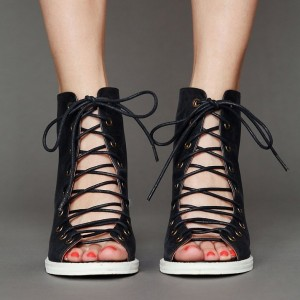 Retro Black Lace Up Summer Boots Peep Toe Slingback  leather Sandals