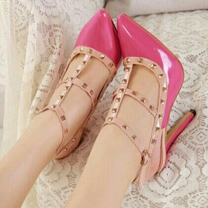 Hot Pink T Strap Heels Pointy Toe Stiletto Heels Pumps with Rivets