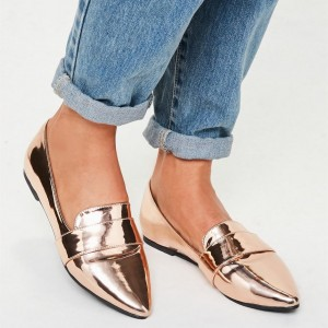 Rose Gold Mirror Leather  Loafers for Women Almond Toe Flats