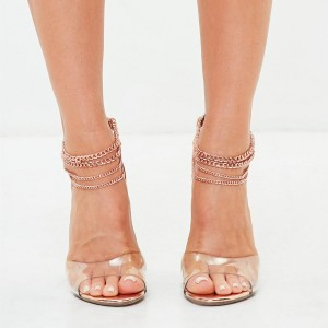 Rose Gold Chains Clear Heels Sandals Peep Toe Stilettos High Heels