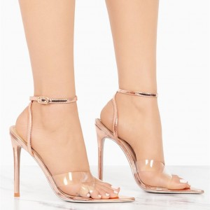 Clear Ankle Strap Heels Rose Gold Sandals Open Toe Slingback Sandals