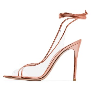 Rose Gold Clear Heels Ankle Strap Stiletto Heel Sandals