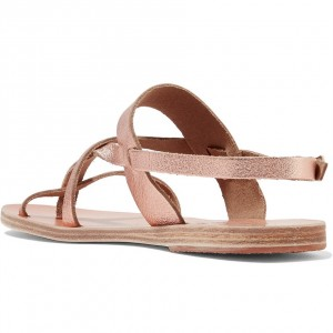 Rose Gold Gladiator Sandals Cute Beach Slingback Sandals