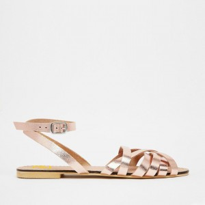 Rose Gold Flat Sandals Open Toe Ankle Strap Sandals