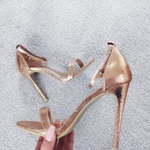Women's Rose Gold Sandals Open Toe Stiletto Heel Ankle Strap Sandals