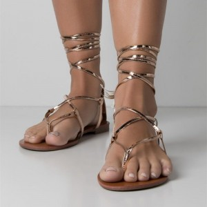 Gold Strappy Flat Gladiator Sandals