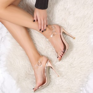 Rose Gold Transparent Stiletto Heels PVC Sandals Slingback Sandals
