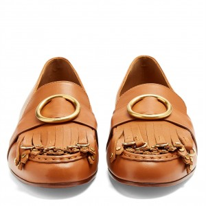 Round Toe Loafers for Women Comfortable Fringe Tan Flats
