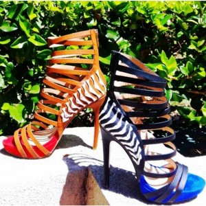 Tan Heels Open Toe Platform Strappy Stiletto Heel Sandals