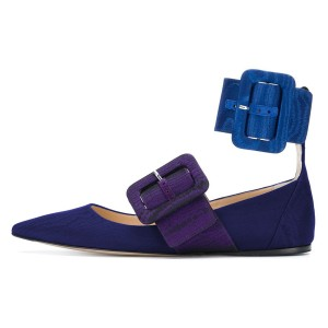 Royal Blue and Purple Buckles Ankle Strap Comfortable Flats