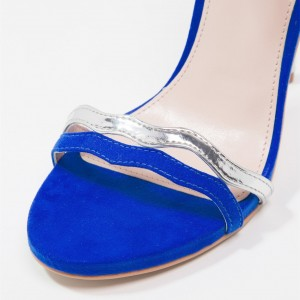 Blue and Silver Open Toe Stiletto Heels Ankle Strap Sandals