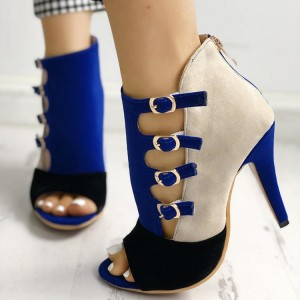Royal Blue Buckles Ankle Booties Peep Toe Stiletto Boots