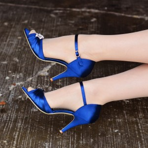 Royal Blue Heels Satin Peep Toe Rhinestone Stiletto Heels Sandals