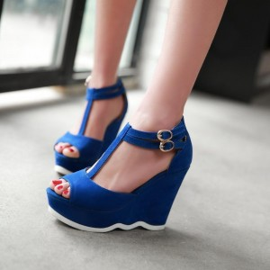 Royal Blue Heels T Strap Peep Toe Wedges Sandals for Women