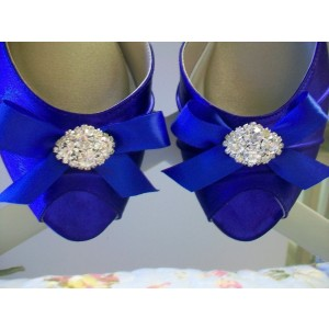 Women's Blue Satin Front Bow Rhinestone Kitten Heel Pumps Bridal Heels