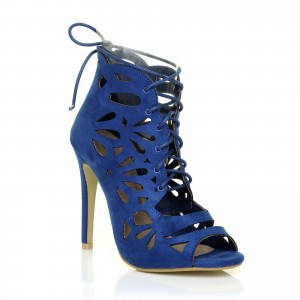 Royal Blue Lace up Heels Laser Cut Suede Peep Toe Heels