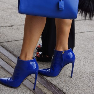 Royal Blue Patent Leather Fashion Boots Stiletto Heel Ankle Booties