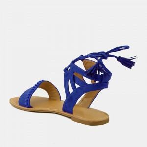 Royal Blue Pom Pom Gladiator Sandals Lace up Sandals with Tassels