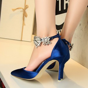 Women's Royal Blue Ankle Strap Pointy Toe Stiletto Heel Wedding Shoes