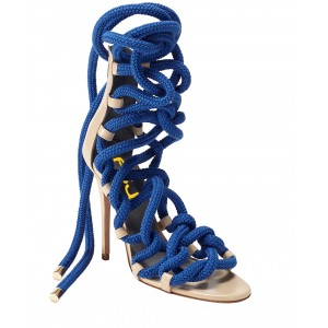Cobalt Blue Strappy Sandals Open Toe Stiletto Heel Vegan Rope Sandals