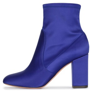 Royal Blue Satin Ankle Boot chunky Heel Boots