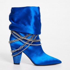 Royal Blue Satin Chunky Heel Boots Pointy Toe Ankle Booties with Chain