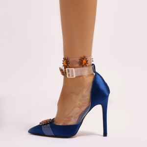 Royal Blue Satin Clear Ankle Strap Crystal Stiletto Heels Pumps