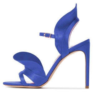 Royal Blue Heels Satin Open Toe Wedding High Heel Sandals