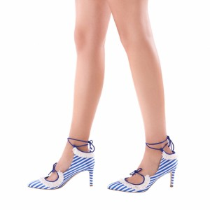 Royal Blue and White Stripes Strappy Heels Fringe Stiletto Heel Pumps