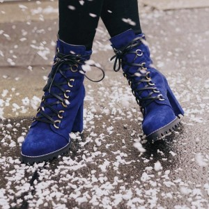 Royal Blue Suede Combat Boots Chunky Heel Ankle Boots