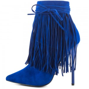 Royal Blue Suede Fringe Boots Stiletto Heel Ankle Boots