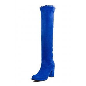 Royal Blue Suede Long Boots Block Heel Knee-high Boots