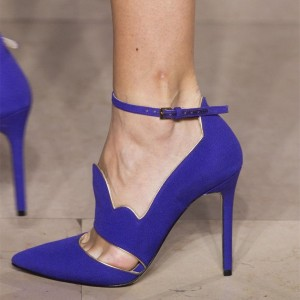 Royal Blue Suede Pointy Toe Cut Out Curvy Ankle Strap Heels Pumps