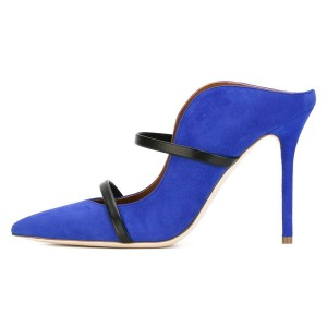 Royal Blue Suede Pointy Toe Stiletto Gold Straps Heel Mules Pumps