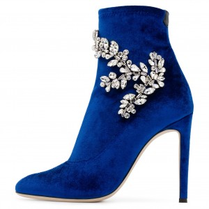Royal Blue Velvet Boots Rhinstone Embellished Stiletto Heel Booties
