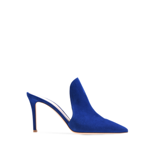 Royal Suede Loafers for Women Pointy Toe Stiletto Heels Mules