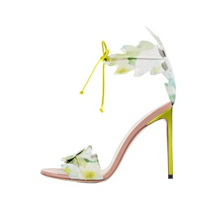 Lime Yellow Leaves Floral Heels Open Toe Tie up Stiletto Heels Sandals