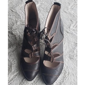 Custom Made Lace up Cone Heel Vintage Shoes