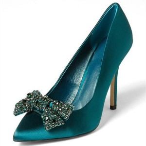Satin Teal Heels Pointy Toe Rhinestone Bow Stiletto Heel Pumps