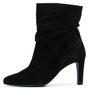 Sexy Black Suede Chunky Heel Boots