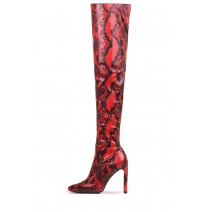Red Snakeskin Boots Pointy Toe Stiletto Heel Thigh High Boots