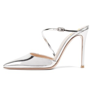 Silver Metallic Mirror Leather Pointy Toe Mule Heels