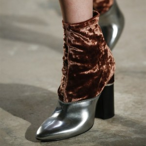 Silver and Brown Velvet Chunky Heel Boots Joint Ankle Boots