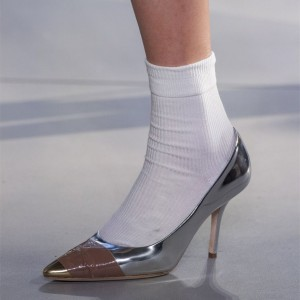 3 inch Heels Silver and Gold Pointy Toe Pumps Office Heels for Women