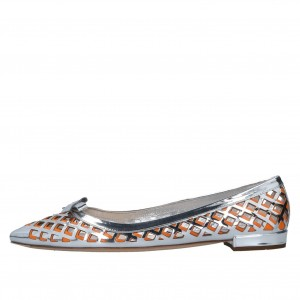 Silver and Orange Hollow out Pointy Toe Flats with Bow