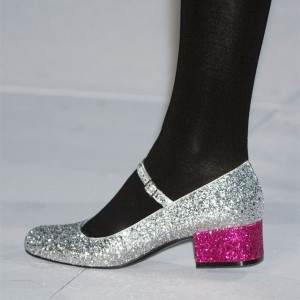 Silver Glitter Block Heels Round Toe Mary Jane Pumps